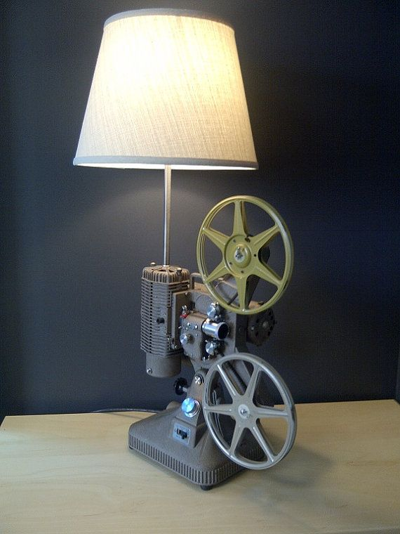 Home Theater Decor Movie Projector Table Lamp By LightAndTimeArt, $350.00
