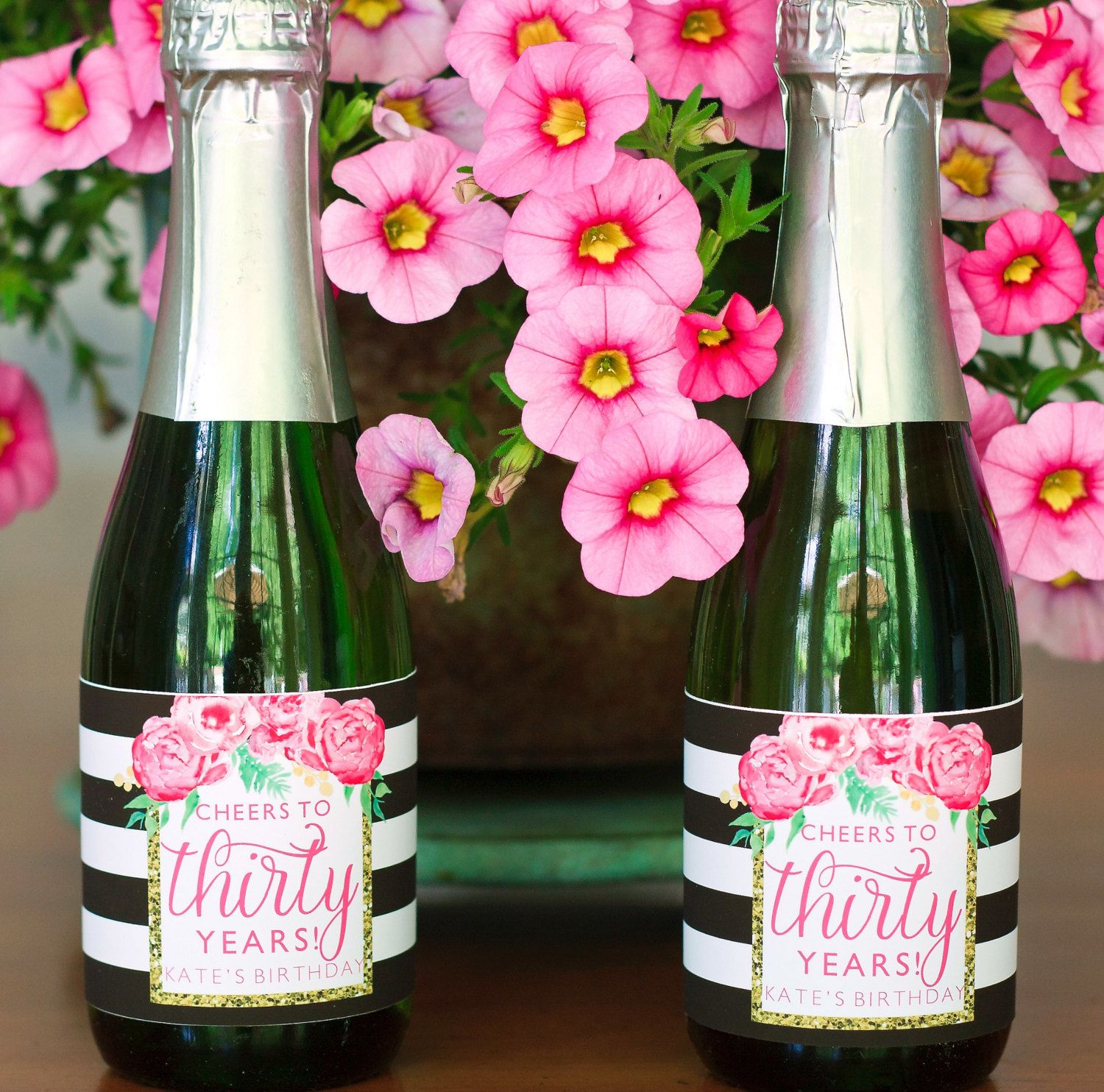 Floral Birthday Mini Champagne Bottle Labels. Pink Birthday Party ...