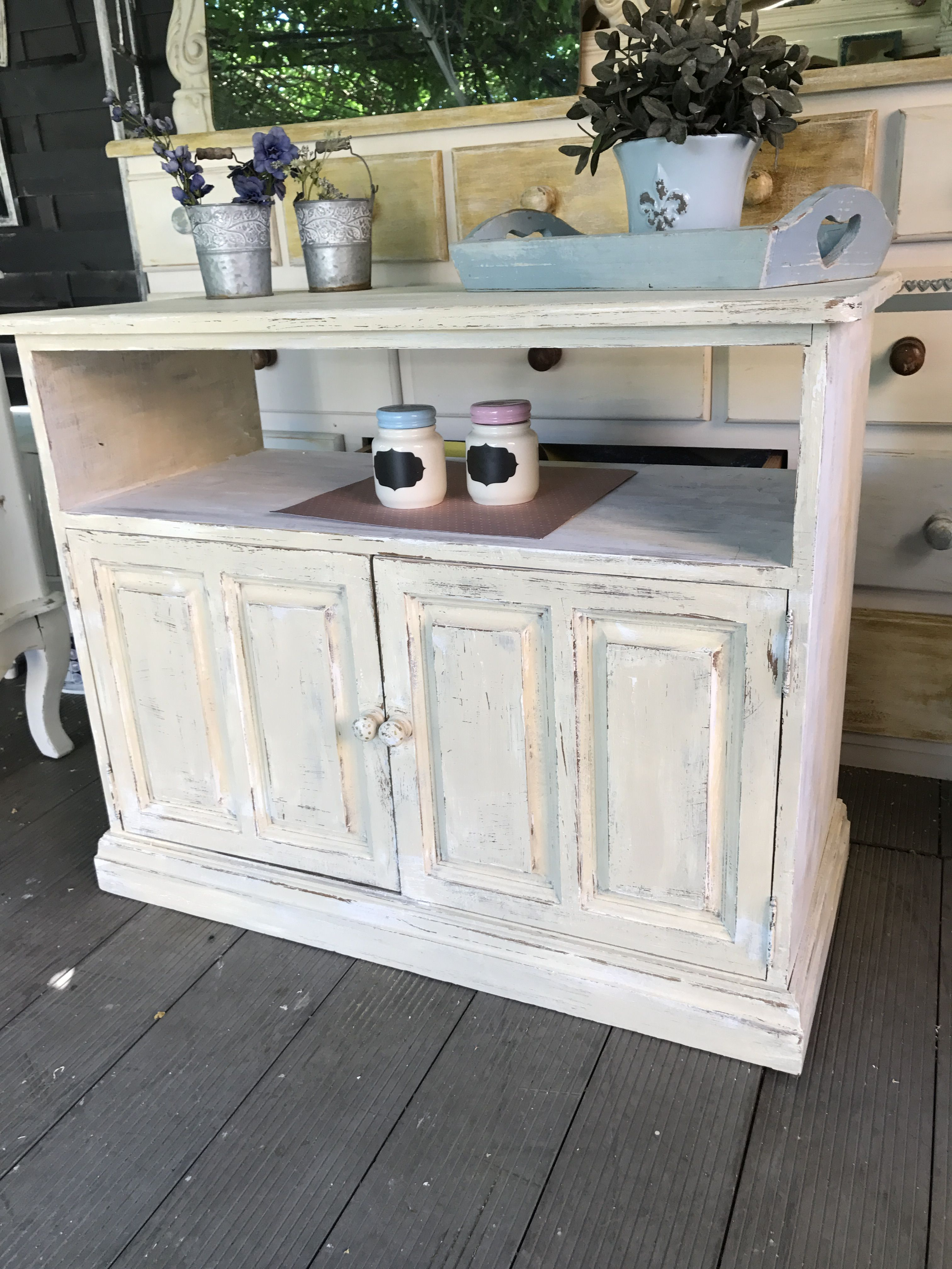 Hand Painted Solid Wood Tv Cabinet In Rich Cream And Given A Rustic