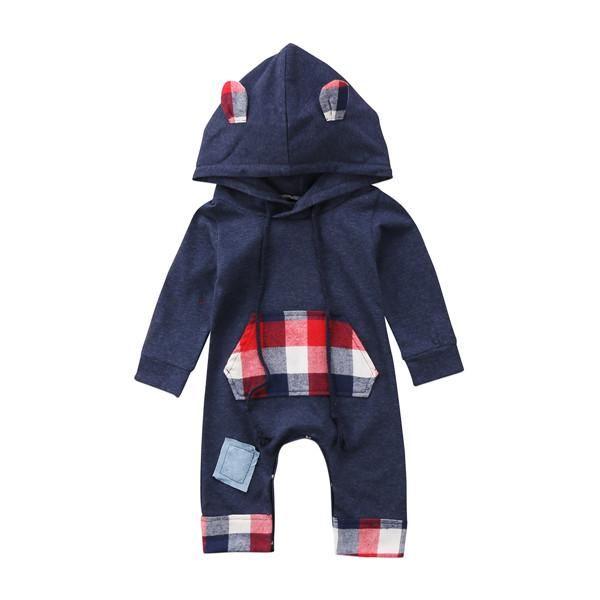 264936cf823f Plaid Bunny Hoodie Romper – Present Baby Newborn Boy Clothes