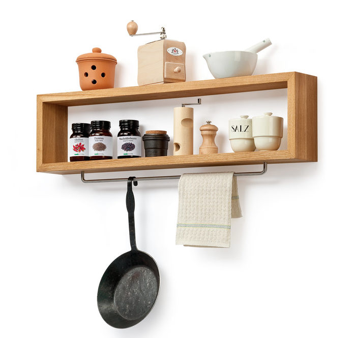 Diy Wooden Kitchen Shelf With Rail Wood Shelf Hanging