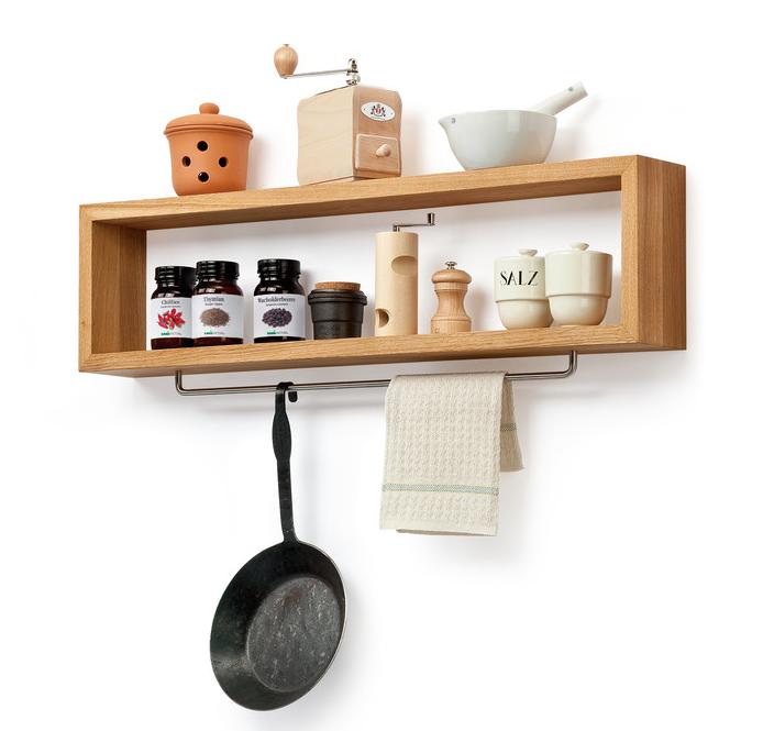 Diy Wooden Kitchen Shelf With Rail Home Decor Ideas Pinterest