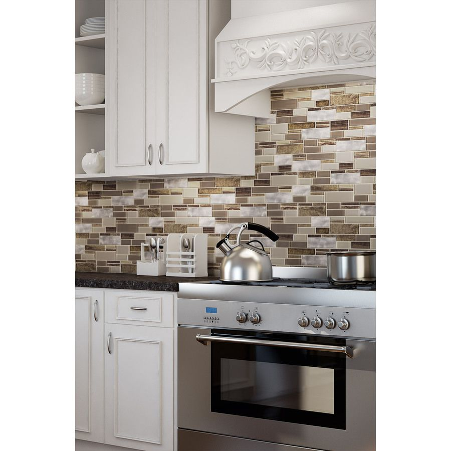 Allen And Roth Backsplash Part - 36: Shop Allen + Roth Laser Contempo Beige Mixed Material (Glass And Metal)  Mosaic Linear
