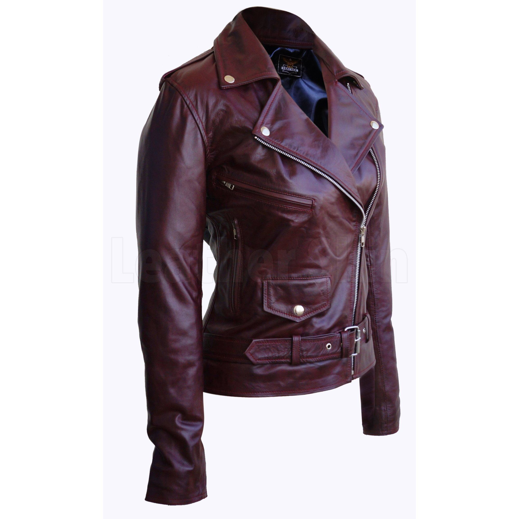 Women Distressed Red Brando Belted Sheep Leather Jacket With Epaulettes Leather Jacket Leather Jackets Women Leather Blazer Women [ 2000 x 2000 Pixel ]