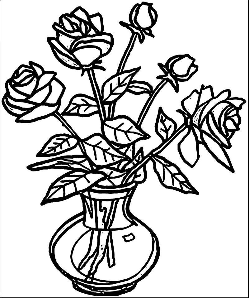 Rose Flower Coloring Page 005 in 2020 Rose coloring