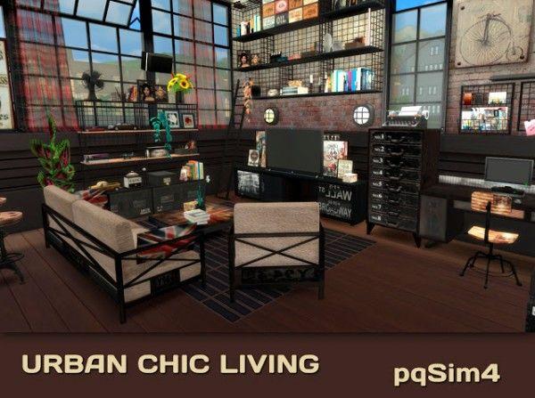 Pqsims4 urban chic livingroom contenido personalizado para los sims 4 sims sims 4 y the sims - Muebles urban chic ...