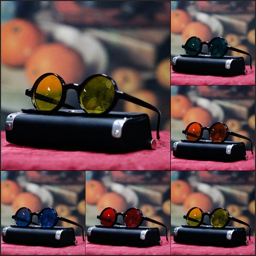 NEW MENS FUN RETRO SUNGLASSES VINTAGE ROUND LENS GEEK NERD FASHION COSTUM BLACK