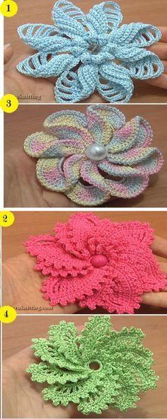 4 Spiral Flower Tutorials – Which one do you like the most | Häkeln ...