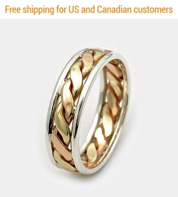 9d13a2ee62927 Men's Wedding ring, Gold Twist Ring, Gift for Him, Gift for dad ...
