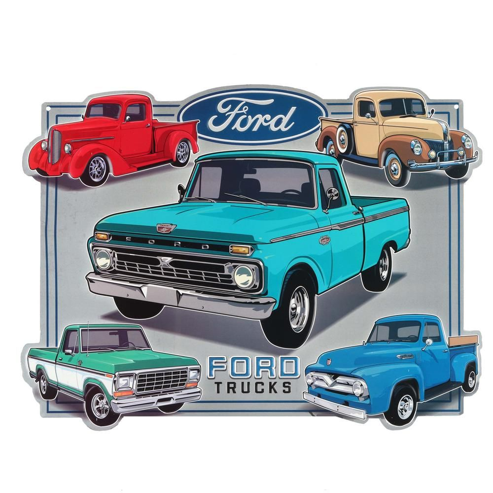 Ford Vintage Trucks Embossed Metal Decorative Sign 90153576 S The Home Depot Vintage Trucks Classic Pickup Trucks Classic Chevy Trucks