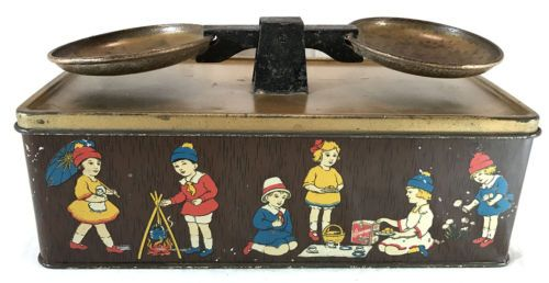 1920-039-s-Original-William-Crawford-Scales-Nursery-BISCUIT-TIN-British-Litho-NoRes