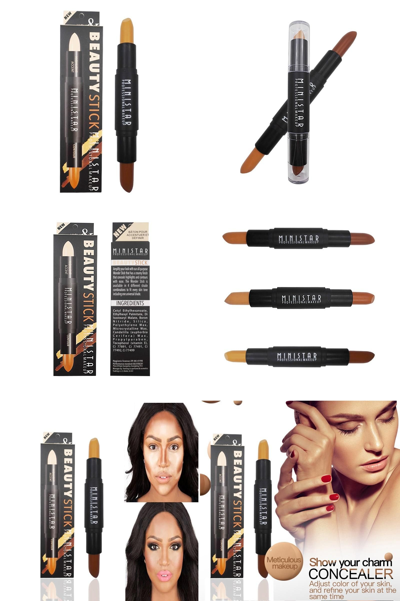 [Visit to Buy] Face Makeup Doubleended 2 in 1 Contour