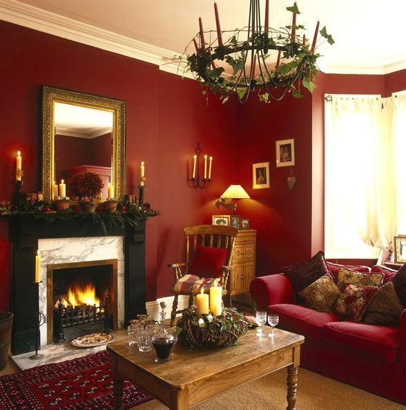 Rote Wohnzimmer-Ideen Wall colors Pinterest