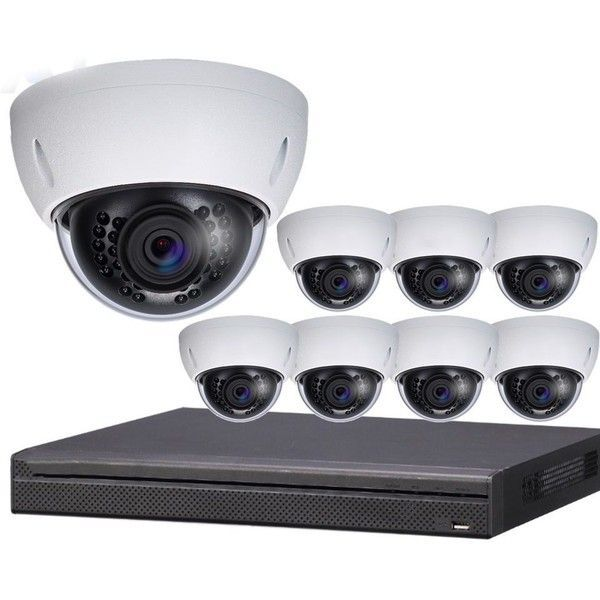 8-Camera 4K Indoor/Outdoor Dome IP Security Camera System 8-HDBW-SYS ...