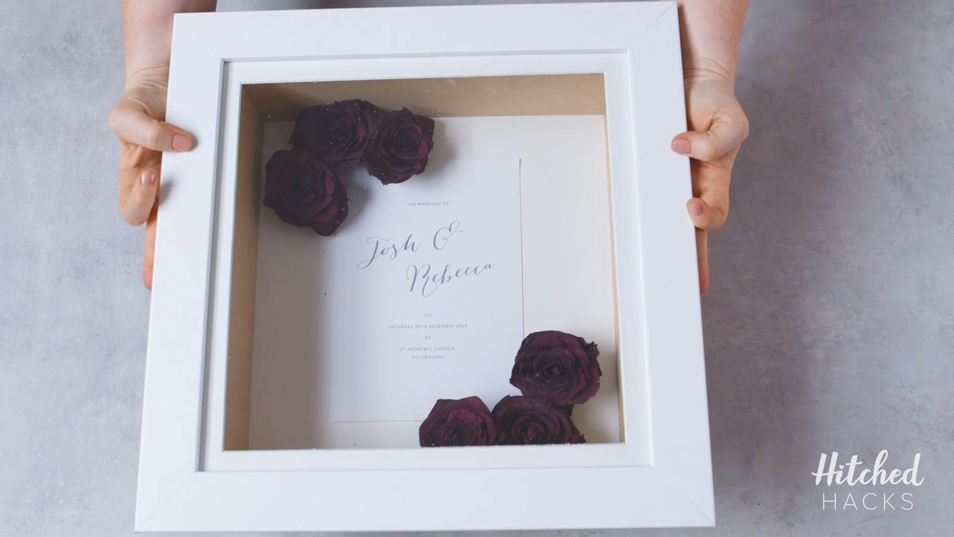 Hitched Hacks How to Preserve and Frame Your Wedding Flowers is part of Wedding bouquet preservation - Watch our video for an easy tutorial on how to preserve your wedding flowers and the best way to mount your dried flowers in a frame so they last forever