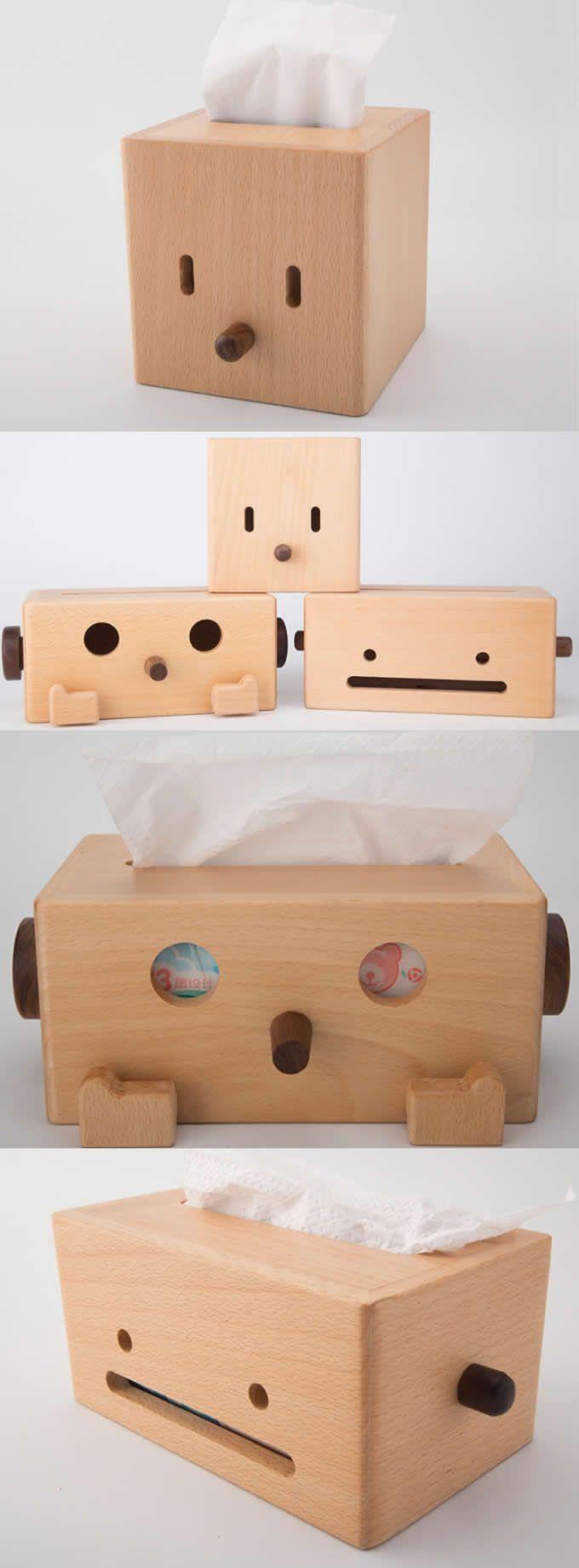wooden robot transformers desk tissue box cover tissue box holder