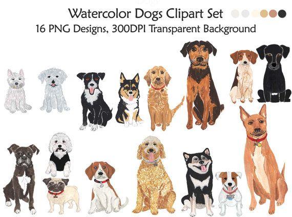 Watercolor Dogs Clipart Set Dogs Clip Art Pet Watercolor