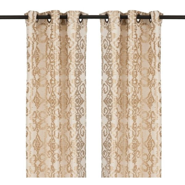 Gold Damask Ikat Curtain Panel Set 84 In 19 Liked On Polyvore Featuring Home Home Decor Window Treatments Cur Curtains Brown Curtains Damask Curtains