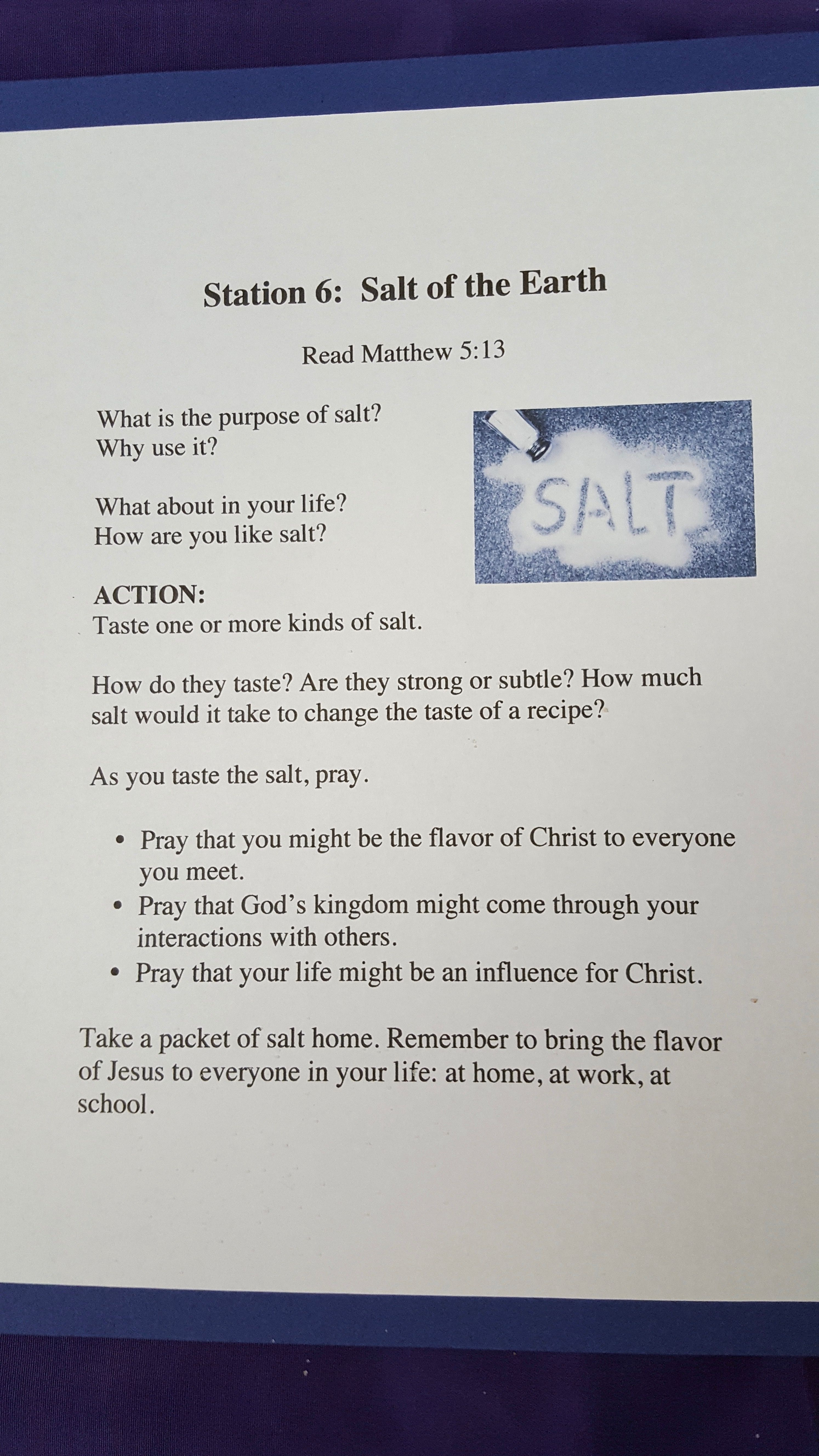 station 6: salt of the earth matthew 6:13 | advent prayer stations