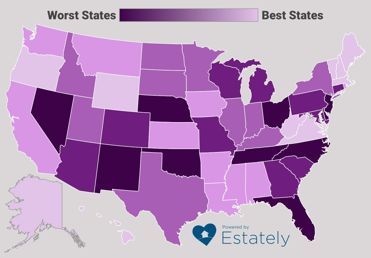 Finally All 50 States Ranked From Worst To Best Us Map States Historical Maps