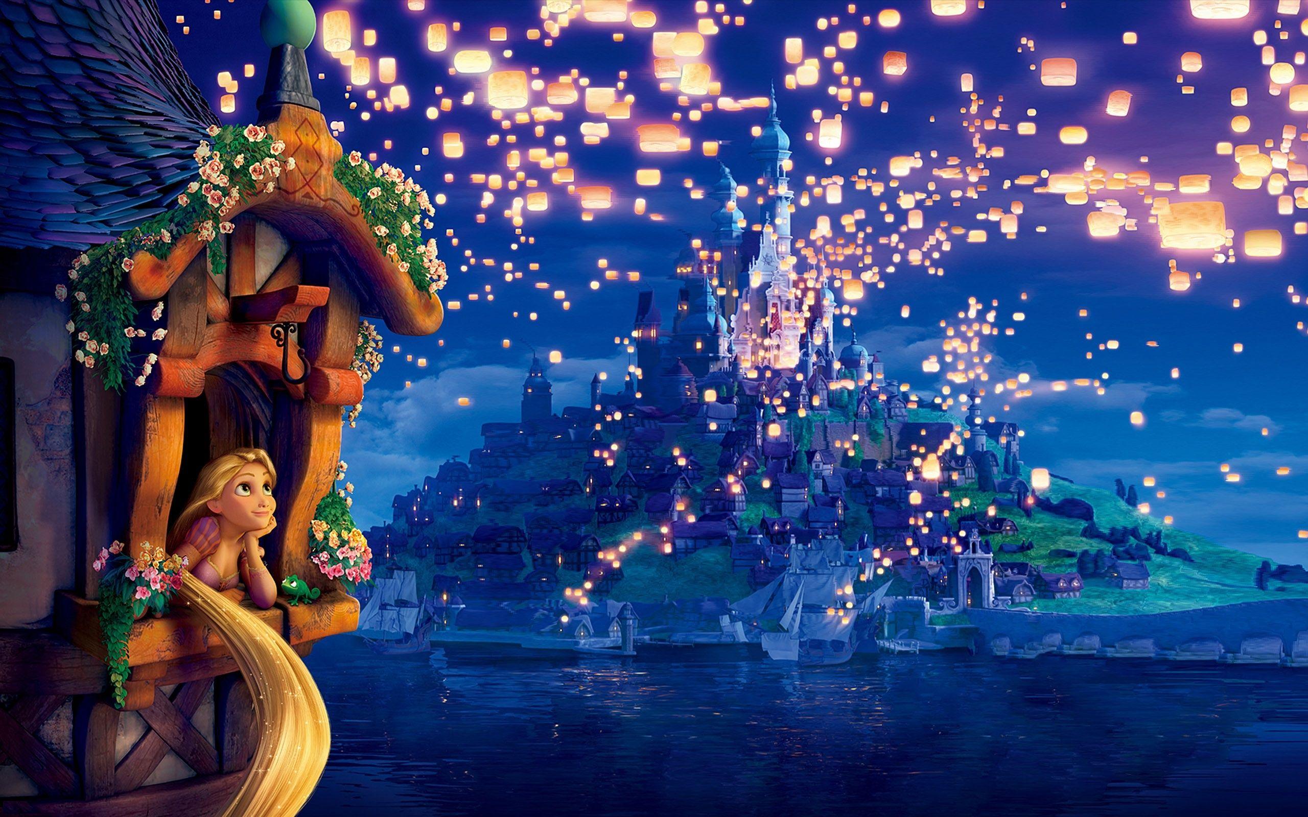 Tangled The Movie Rapunzel Princess Dreams Lanterns Lights Night Evening Tangled Rapunzel Princess An Disney Background Kinkade Disney Disney Desktop Wallpaper