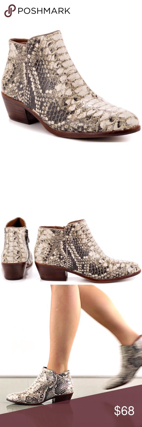 e176501392ae7 Sam Edelman Petty Roccia Python Snakeskin Booties Ultra Rare Roccia Python  print Petty ankle boots