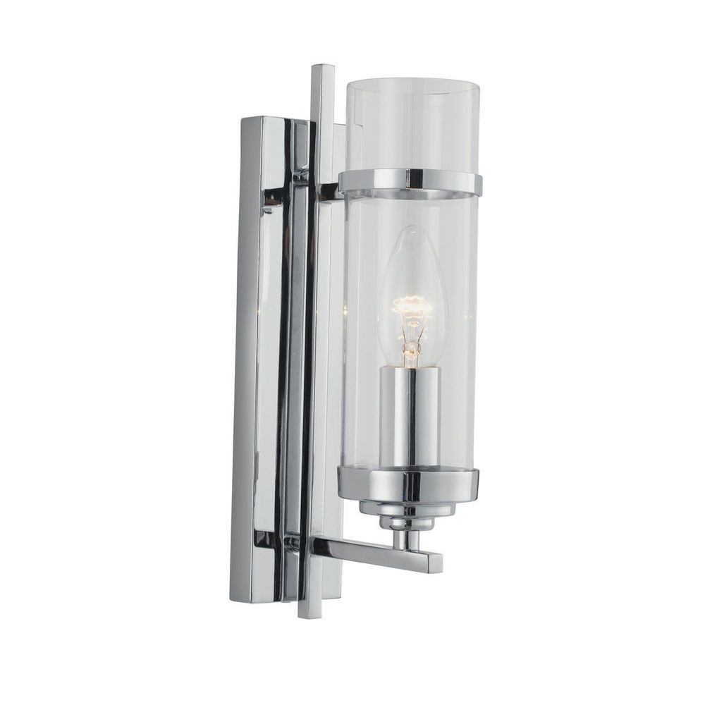 Searchlight 3091-1CC Milo Chrome Wall Light With Clear Glass Cylinder Shade  - Dushka Ltd
