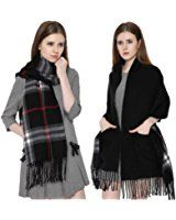 Reversible Long Shawl Plaid Blanket Scarf Cashmere Feel Stole with Pocket Black, Dark Red, Pink or Red