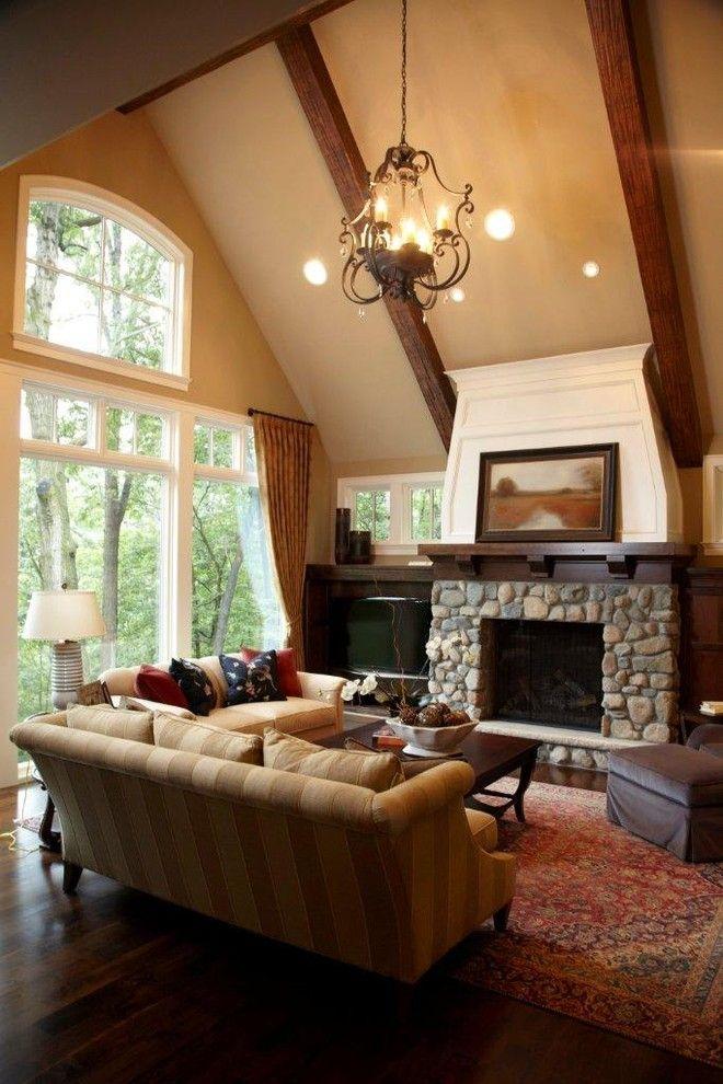 Fireplace Corner Tv Windows Great Room Traditional