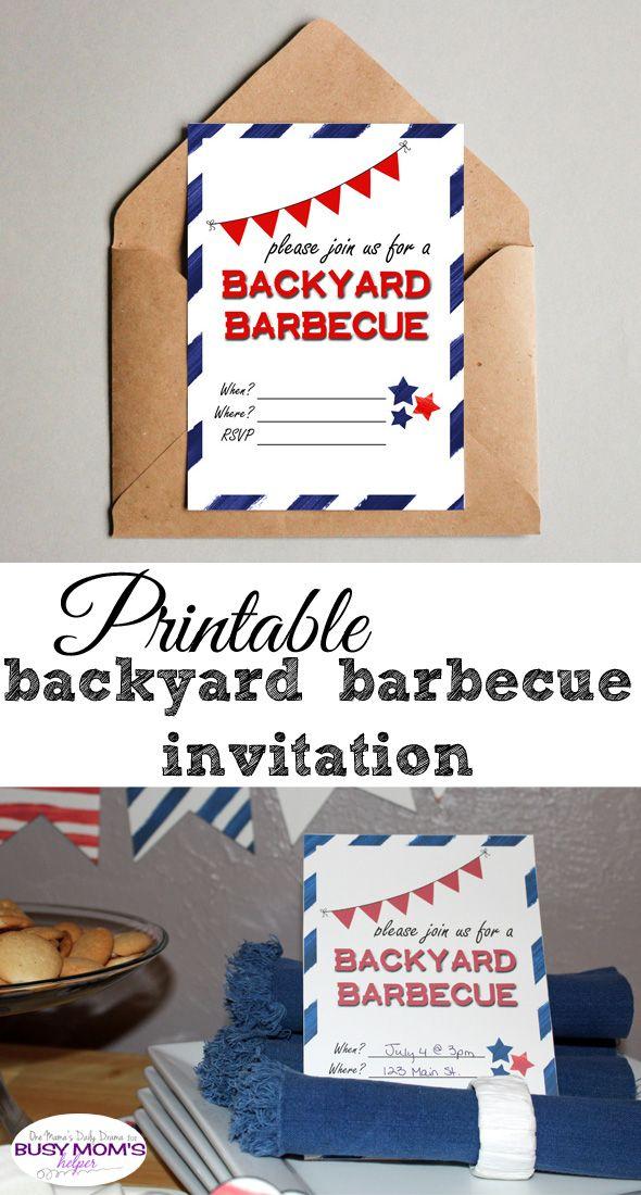 Printable backyard barbecue invitation   One Mama's Daily Drama for Busy Mom's Helper