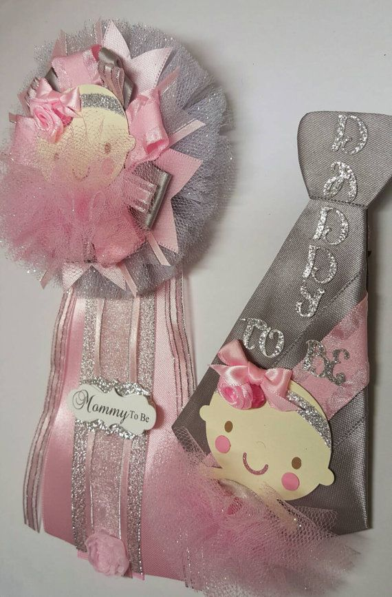 Ballerina Mommy To Be Corsage Daddy Pin Set Of 2 Pink And Gray