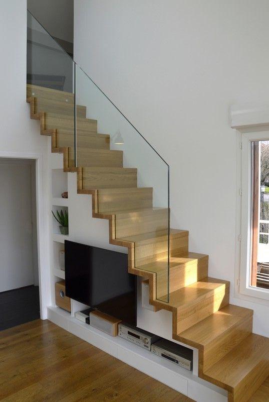 escalier droit lin a en ch ne avec garde corps tout verre home d cor pinterest stairs. Black Bedroom Furniture Sets. Home Design Ideas