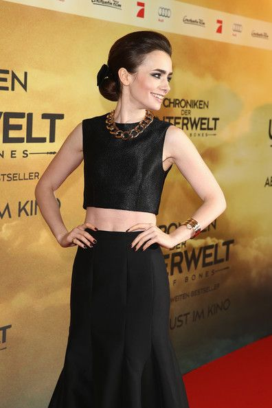 c5437e30686305 Lily Collins at 'The Mortal Instruments: City of Bones' premiere in Berlin.
