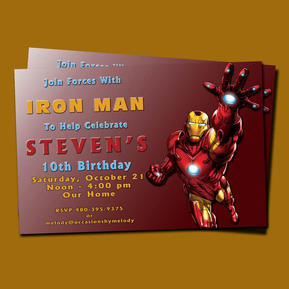 Iron Man Birthday Party Invitations | Iron man birthday, Men ...