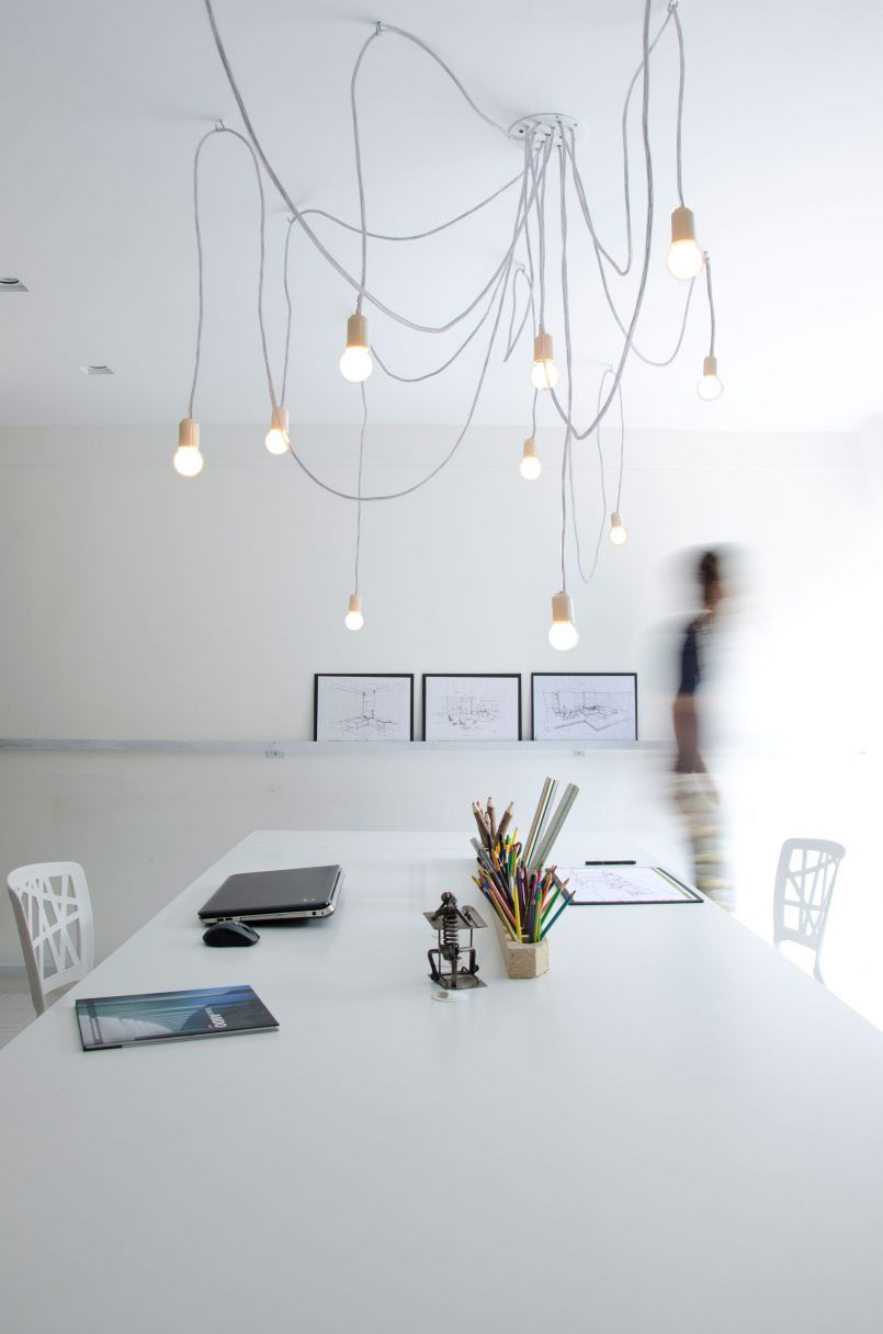 Home Design Desk Also Chairs Combined Among Chandelier And Painting Urban Concept of Living in Container House