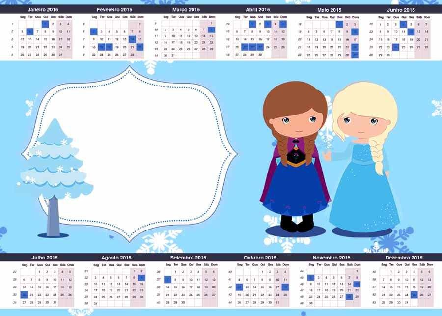 Cartoon Elsa And Anna Printable Frozen Calendar Templates 2015 New