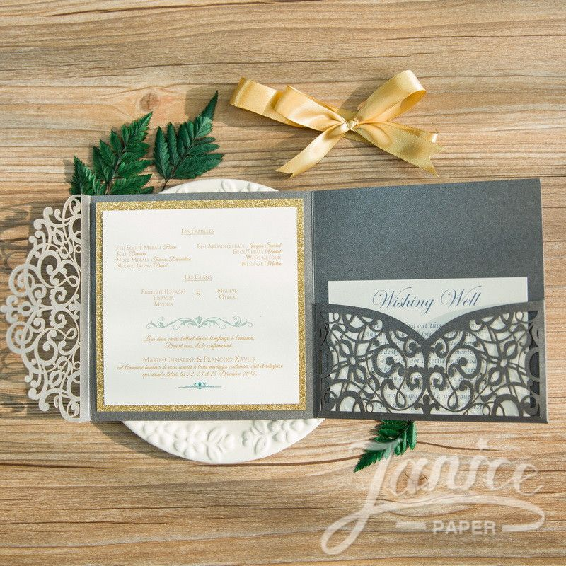 Elegant Floral Tri Fold Laser Cut Wholesale Wedding Invitation