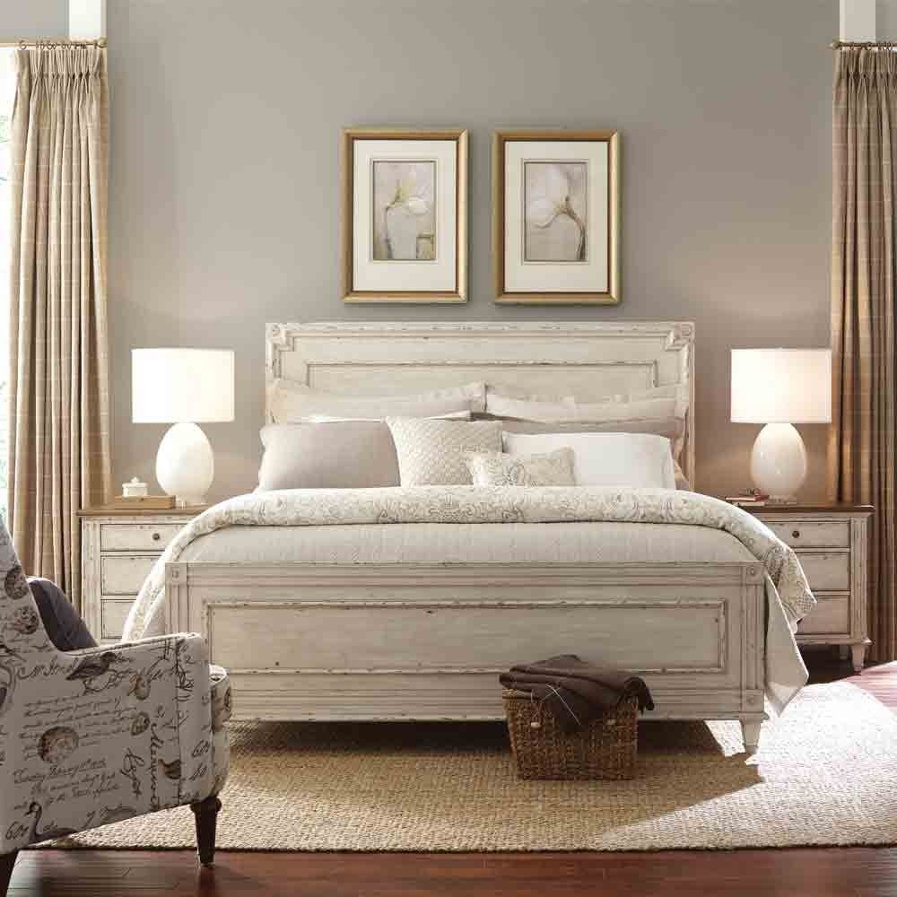 southbury wood panel bed in parchment by american drew whitewash