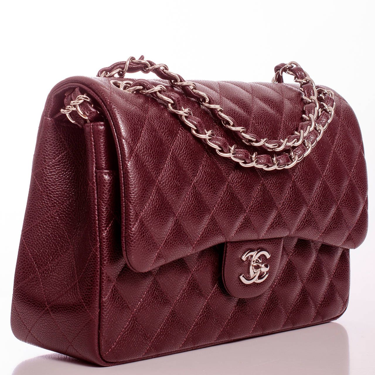 Chanel Burgundy Quilted Caviar Jumbo Classic 2 55 Double Flap Bag From A Collection Of Rare Vintage Handbags And Purses At Chanel Chanel Bag Chanel Handbags