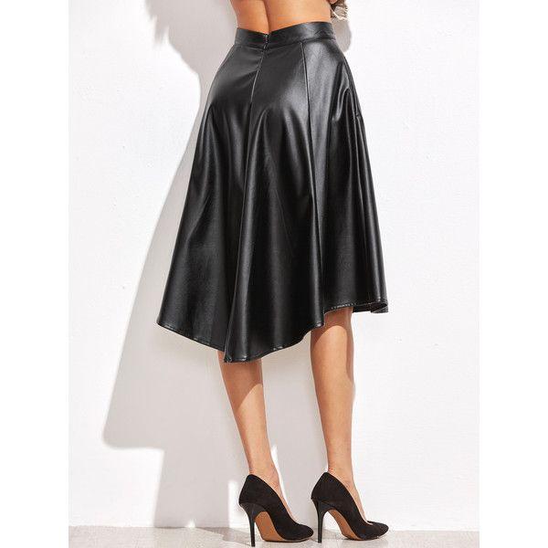 868dfa288e SheIn(sheinside) Faux Leather Asymmetric Paneled Skirt ($18) ❤ liked on  Polyvore featuring skirts, flare skirts, fake leather skirt, faux leather  flared ...