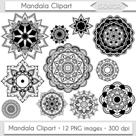 Mandala Clipart Vector Mandala Clip Art Henna Tattoo Lotus Flower