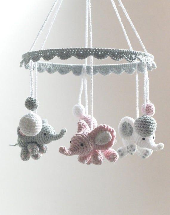 Elephant Baby Mobile, Crochet Elephant, Crochet Baby Gift, Handmade Baby Mobile, Elephant Crib Mobile