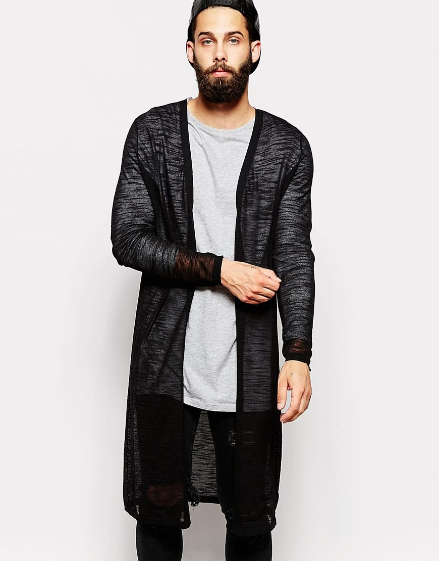 Cardigan by ASOS Lightweight knit Sheer finish Open front Longline ...
