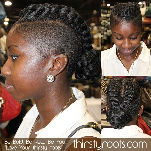 Faux Braided Mohawk Braids With Shaved Sides Natural