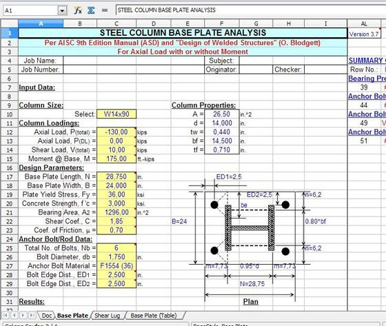 Steel Column Base Plate Analysis Steel Column Spreadsheet Steel Beam Column Analy Construction Estimating Software Steel Columns Civil Engineering Design