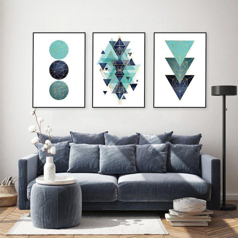 Mint Green Navy Blue Teal Gold Set Of 3 Geometric Printable Art Digital Download Art Set Turquoise Aqua Wall Art Minimalist Geo Poster Trio Teal And Gold Aqua Wall Art Geometric #teal #and #gold #living #room