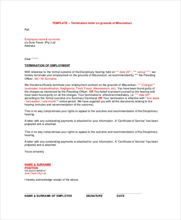 Sample Employment Termination Letter Documents Pdf Word Invoice