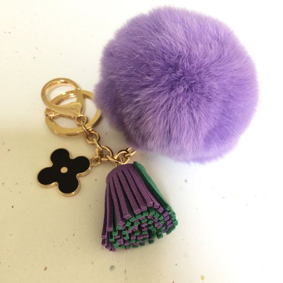 Pom-Perfect purple REX Rabbit fur pom pom ball by YogaStudio55