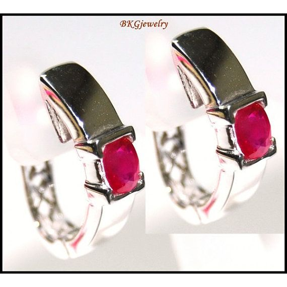 Natural Ruby Gemstone 18K White Gold Clip-On Earrings by BKGjewels