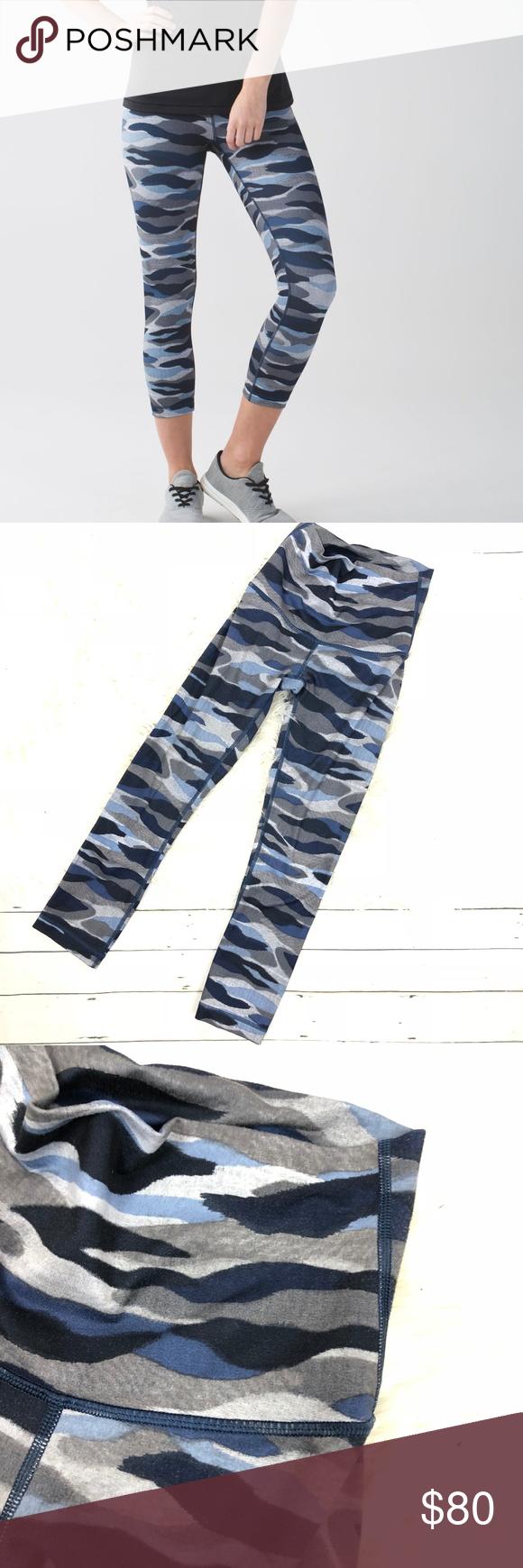 d7643c82d8418a Lululemon hi-rise wunder under blue navy camo crop Rare! Lululemon Women's  wunder-under hi-rise camo cropped leggings in Mini Coast Camo Deep Navy  Multi ...